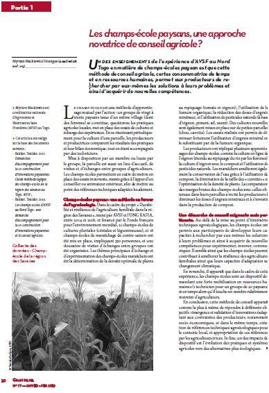 Les champs-école paysans, une approche novatrice de conseil agricole ?