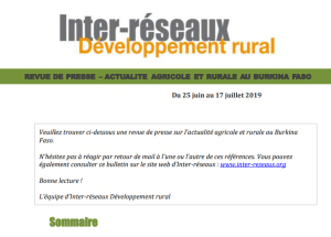 Actualité agricole au Burkina : la revue de presse du 25 juin au 17 juillet 2019