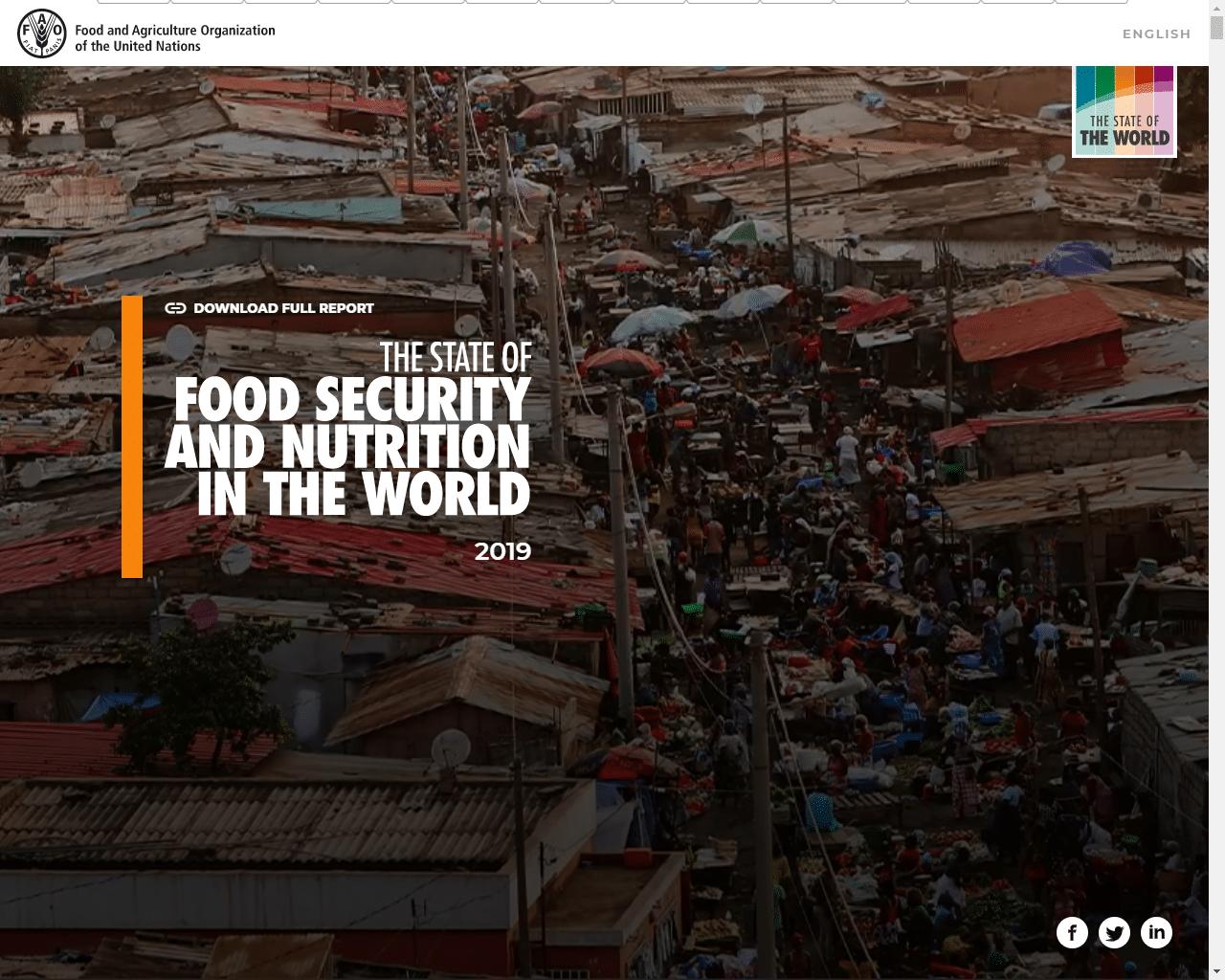 Rapport - Etat de la sécurité alimentaire et de la nutrition dans le monde 2019
