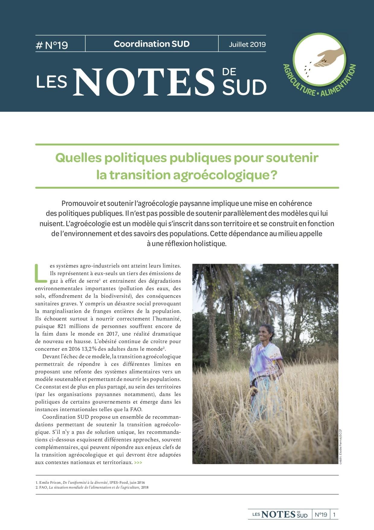 Les Notes de SUD n°19 : Quelles politiques publiques pour soutenir la transition agroécologique ?