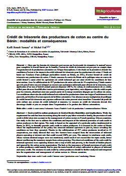 Article - Crédit de trésorerie des producteurs de coton au centre du Bénin: modalités et conséquences