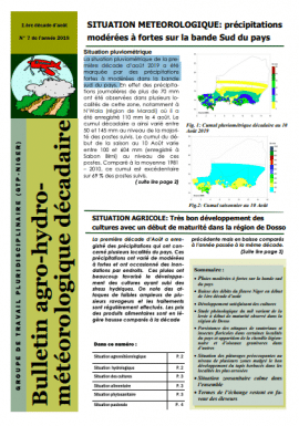 Bulletin agro-hydro-météorologique / Août 2019 - Décade 1