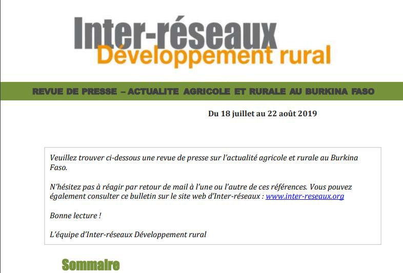 Actualité agricole au Burkina : la revue de presse du 18 juillet au 22 août 2019