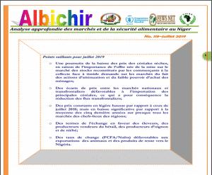 Bulletin Albichir 118 - juillet 2019 : Analyse approfondie des marchés et de la sécurité alimentaire au Niger.