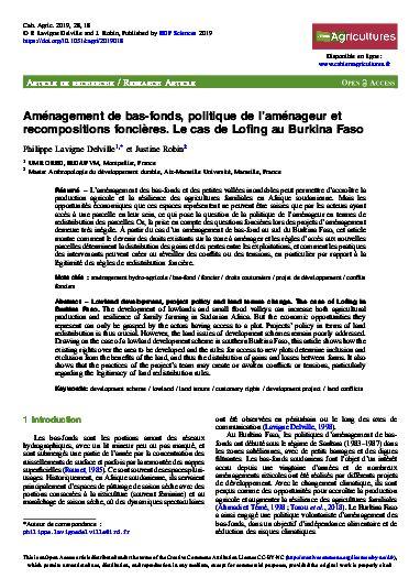 Article - Aménagement de bas-fonds, politique de l'aménageur et recompositions foncières : le cas de Lofing au Burkina Faso