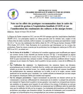 Notes: Conseil de gestion à l'exploitation familiale (CGEF) au Niger