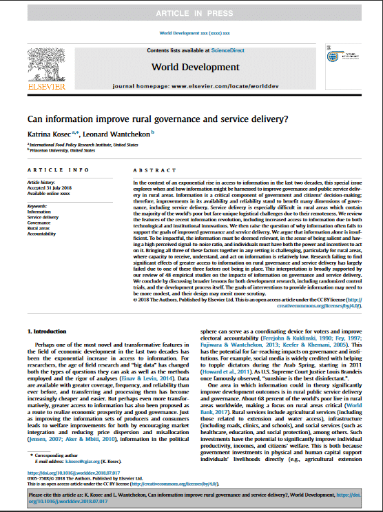 Article: Can information improve rural governance and service delivery?