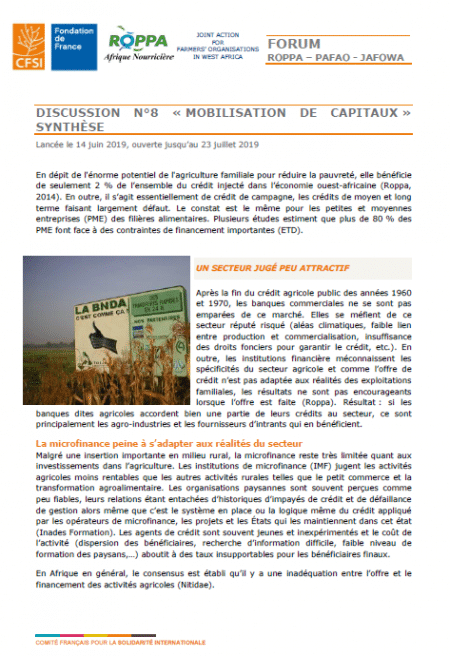 Discussions : Mobilisation de capitaux dans le secteur agricole