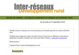 Actualité agricole au Burkina : la revue de presse du 24 août au 27 septembre 2019