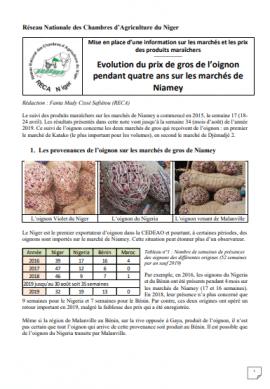 Note - Evolution du prix de gros de l'oignon sur 4 ans (Niamey)