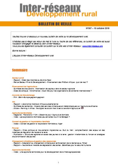 Bulletin de veille n°367
