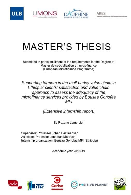 Master's thesis: Supporting farmers in the malt barley value chain in Ethiopia