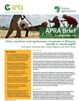 Brief - Policy Incentives and Agribusiness Investment in Ethiopia: Benefit or Deadweight