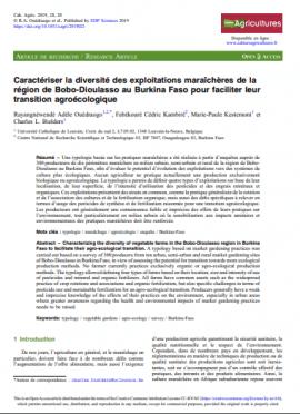 Article : Caractériser la diversité des exploitations maraîchères de la région de Bobo-Dioulasso au Burkina Faso pour faciliter leur transition agroécologique