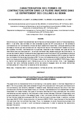 Article : Caractérisation des formes de contractualisation dans la filière anacarde dans le département des collines au Bénin