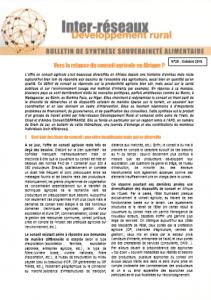 Bulletin de synthèse n°29 : Vers la relance du conseil agricole en Afrique ?