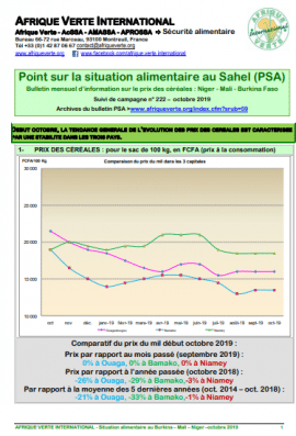Point Situation Alimentaire n°222 - octobre 2019