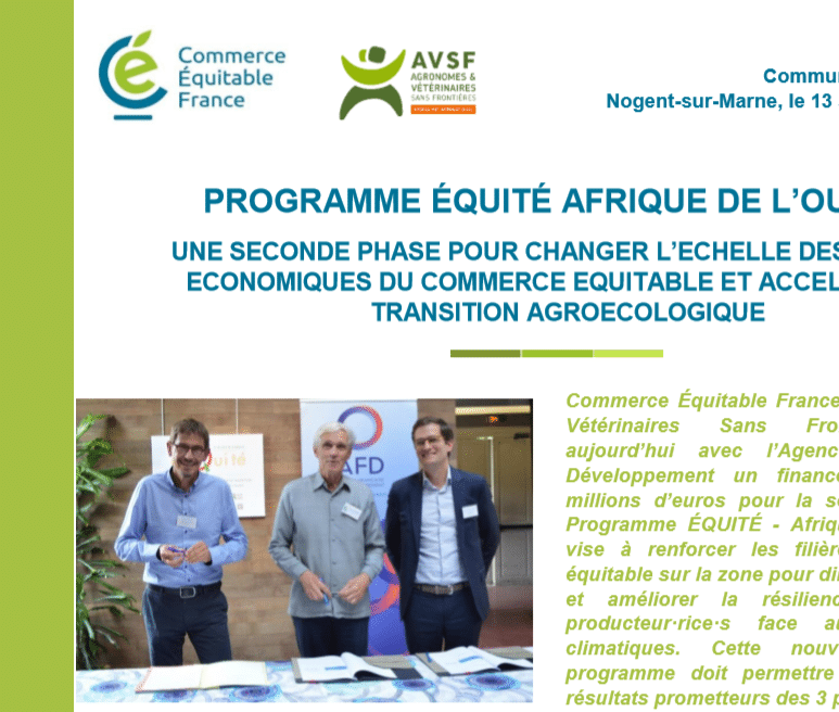 Commerce équitable : AVSF lance la seconde phase du projet Equité en Afrique de l'Ouest
