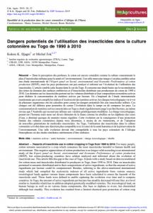 Article : Dangers potentiels de l'utilisation des insecticides dans la culture cotonnière au Togo de 1990 à 2010