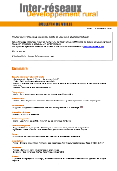 Bulletin de veille n°369