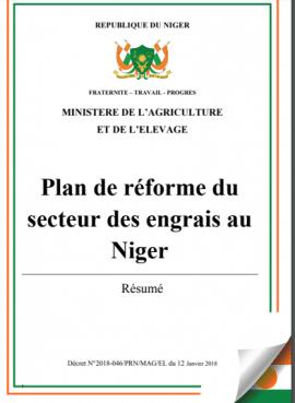 Document de politique: Plan de réforme du secteur des engrais au Niger