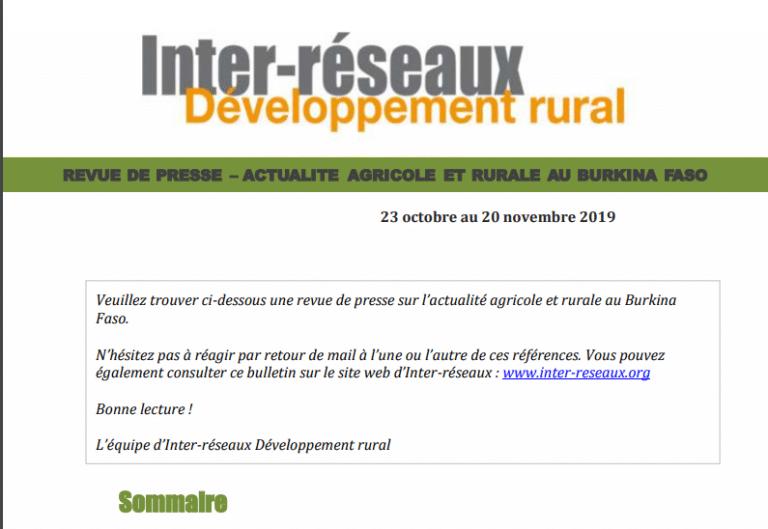 Actualité agricole au Burkina : la revue de presse du 23 octobre au 20 novembre 2019