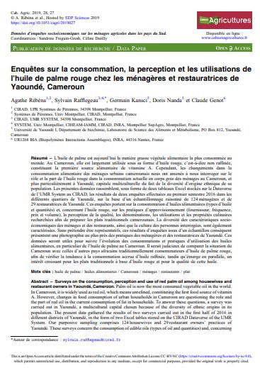 Article : Enquêtes sur la consommation, la perception et les utilisations de l'huile de palme rouge chez les ménagères et restauratrices de Yaoundé (Cameroun)