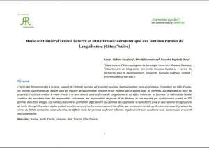Article : Mode coutumier d'accès à la terre des femmes rurales de Languibonou
