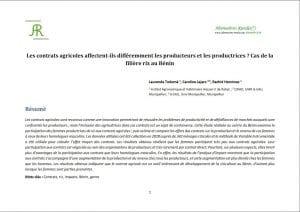 Article : Participation des productrices de riz aux les contrats agricoles
