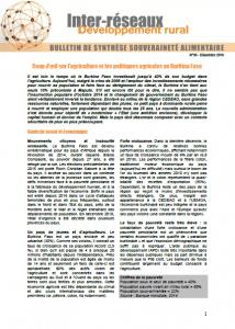 Bulletin de synthèse n°30 : Politiques agricoles Burkina Faso