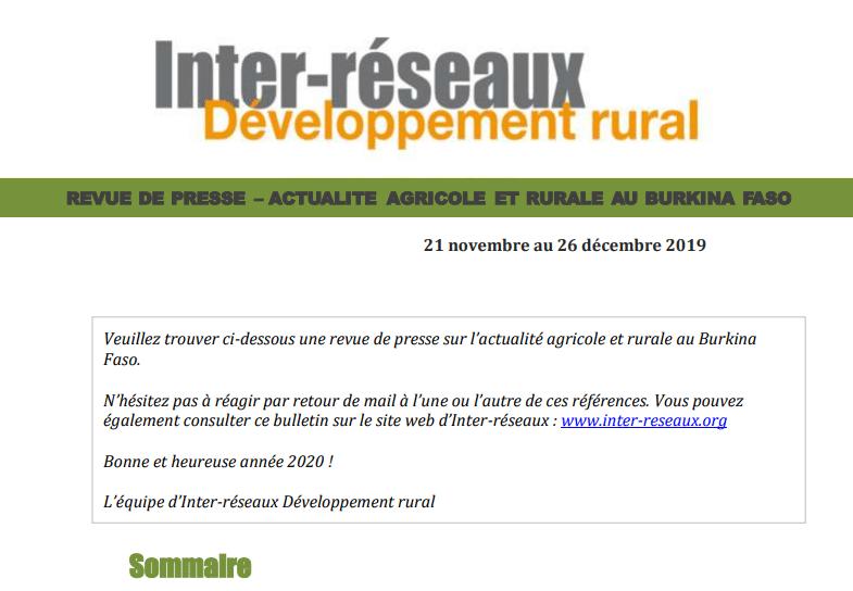 Actualité agricole au Burkina : la revue de presse du 21 novembre au 26 décembre 2019