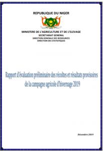 Rapport: évaluation préliminaire des récoltes et résultats provisoires de la campagne agricole d'hivernage 2019