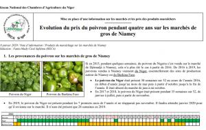 Rapport: Evolution du prix du poivron pendant quatre ans sur les marchés de gros de Niamey