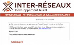 Actualité agricole au Burkina : la revue de presse du 30 décembre au 24 janvier 2020