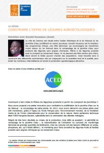 Entretien : Construire l'offre de légumes agroécologiques au Bénin