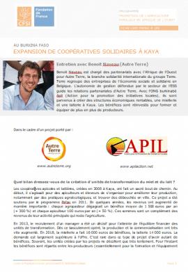 Entretien : Expansion de coopératives solidaires à Kaya (Burkina Faso)