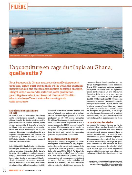 L'aquaculture en cage du tilapia au Ghana, quelle suite ?