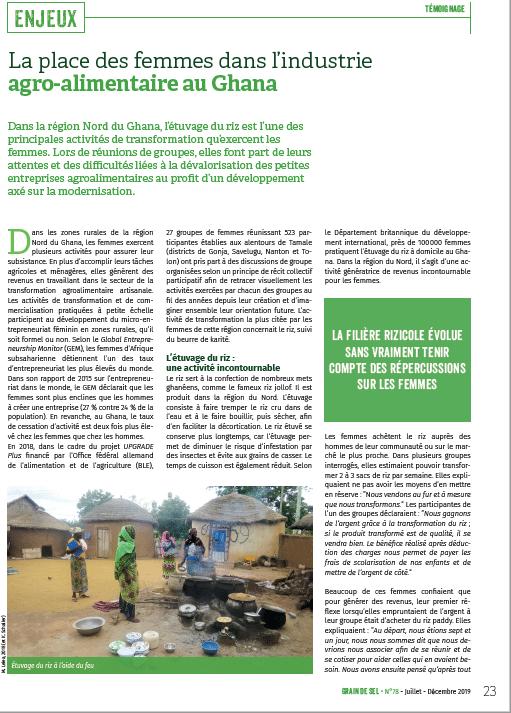La place des femmes dans l'industrie agro-alimentaire au Ghana