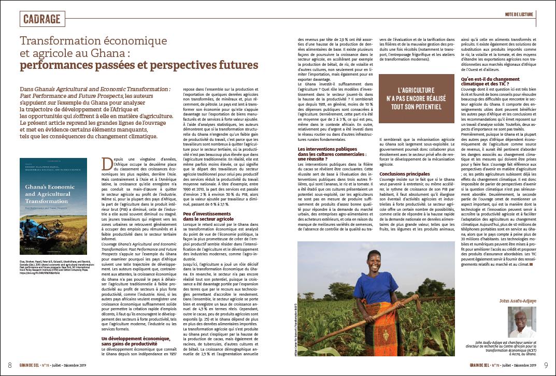 Transformation économique et agricole au Ghana : performances passées et perspectives futures