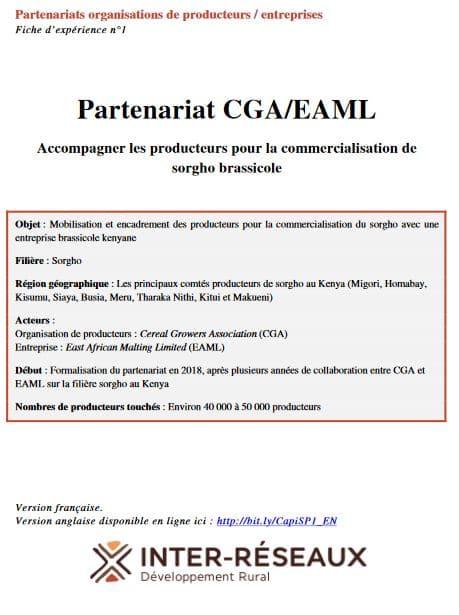 Fiche d'expérience - Partenariat CGA/EAML : Accompagner les producteurs pour la commercialisation de sorgho brassicole