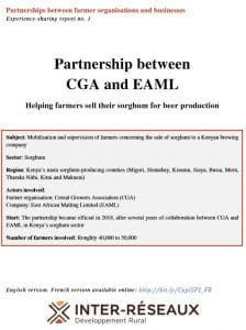 Capitalisation - Partnership CGA/EAML: Helping farmers sell their sorghum for beer production