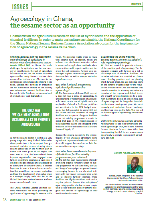 Agroecology in Ghana, the sesame sector as an opportunity