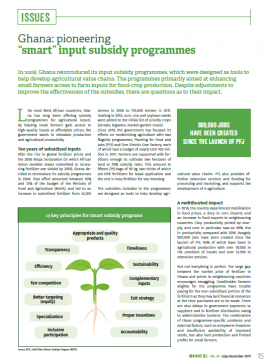 "Ghana: pioneering ""smart"" input subsidy programmes"