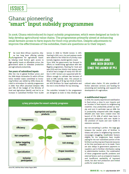 "Ghana: pioneering ""smart"" input subsidy programmes"