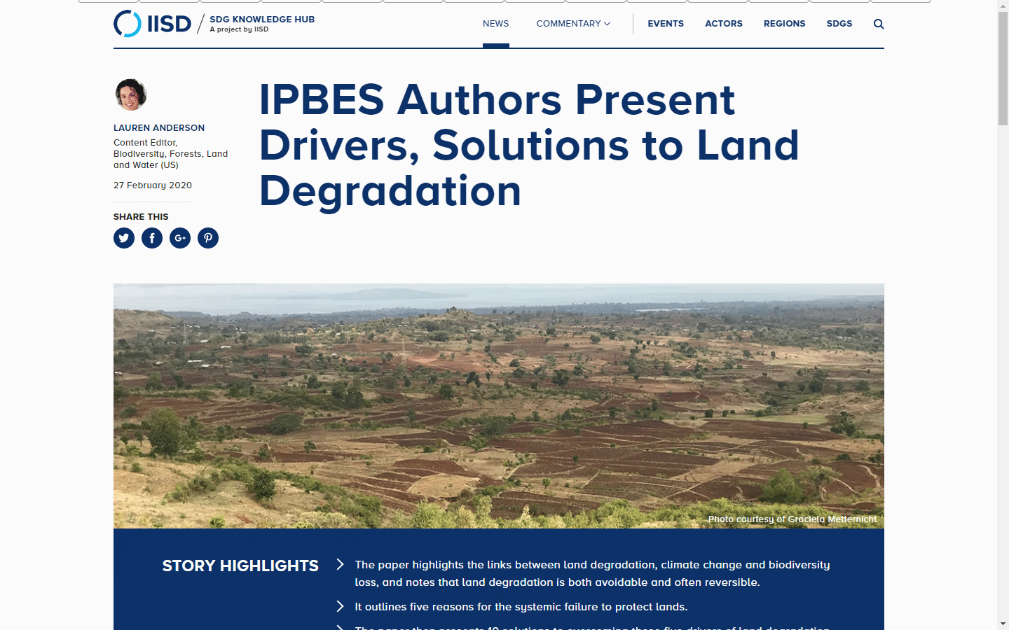 Article - IPBES Authors Present Drivers, Solutions to Land Degradation