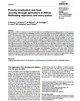Article - Poverty eradication and food security through agriculture in Africa: Rethinking objectives and entry points