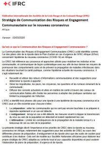 Stratégie de communication : Risques et Engagement Communautaire sur le nouveau coronavirus en Afrique