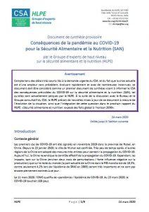 Synthèse - Conséquences de la pandémie au COVID-19 pour la Sécurité Alimentaire et la Nutrition