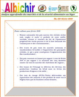 Bulletin Albichir N°125 - février 2020 : Analyse approfondie des marchés et de la sécurité alimentaire au Niger