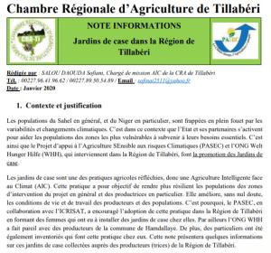 Note : les jardins de case dans la région de Tillabéri au Niger